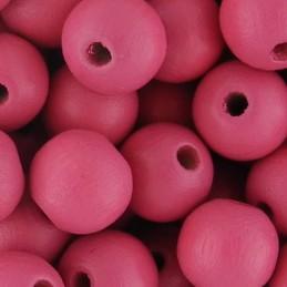 Preciosa pyöreä lakattu puuhelmi 10 mm, tummempi vaaleanpunainen