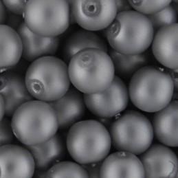 Preciosa pyöreä mattapintainen helmiäislasihelmi 6 mm, hopea