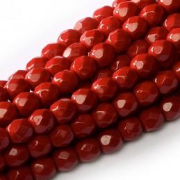 Tsekkiläinen pyöreä Happy Color fasettihiottu lasihelmi 4 mm, tummanpunainen