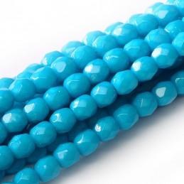 Tsekkiläinen pyöreä Happy Color fasettihiottu lasihelmi 4 mm, sininen