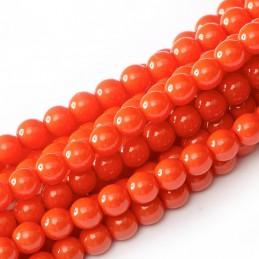 Tsekkiläinen pyöreä Happy Color lasihelmi 4 mm, oranssihtava punainen