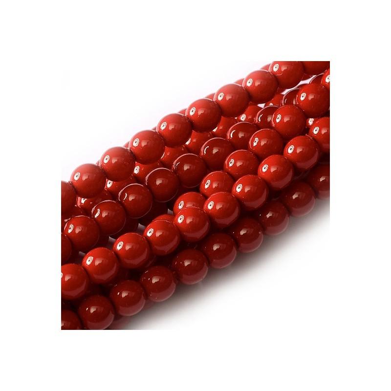 Tsekkiläinen pyöreä Happy Color lasihelmi 4 mm, tummanpunainen
