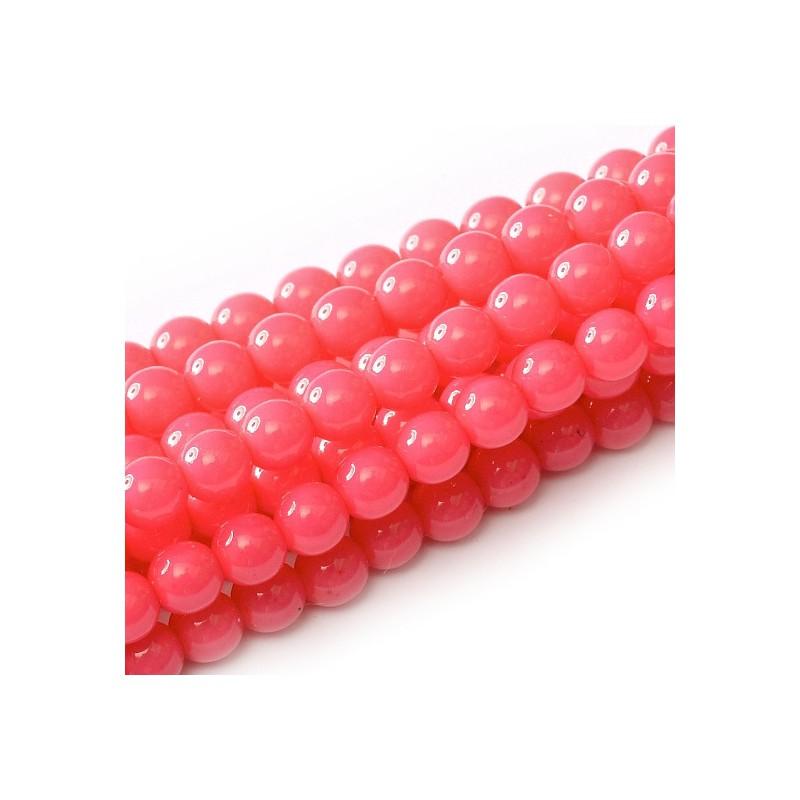 Tsekkiläinen pyöreä Happy Color lasihelmi 4 mm, pinkki