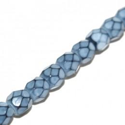 Tsekkiläinen pyöreä fasettihiottu Snake lasihelmi 4 mm, Usva