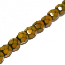 Tsekkiläinen pyöreä fasettihiottu Snake lasihelmi 4 mm, sinappi