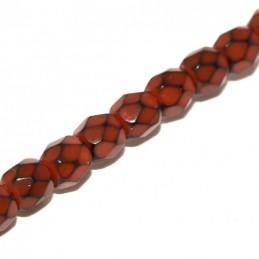 Tsekkiläinen pyöreä fasettihiottu Snake lasihelmi 4 mm, oranssi