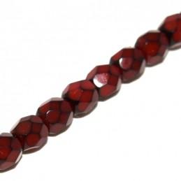 Tsekkiläinen pyöreä fasettihiottu Snake lasihelmi 4 mm, punainen