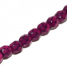 Tsekkiläinen pyöreä fasettihiottu Snake lasihelmi 4 mm, fuksia