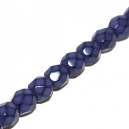 Tsekkiläinen pyöreä fasettihiottu Snake lasihelmi 4 mm, violetti