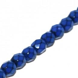 Tsekkiläinen pyöreä fasettihiottu Snake lasihelmi 4 mm, koboltinsininen