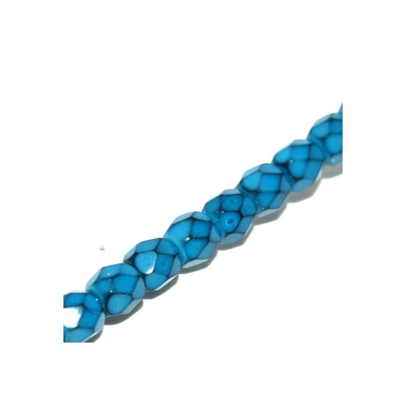 Tsekkiläinen pyöreä fasettihiottu Snake lasihelmi 4 mm, siniturkoosi