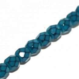Tsekkiläinen pyöreä fasettihiottu Snake lasihelmi 4 mm, turkoosi