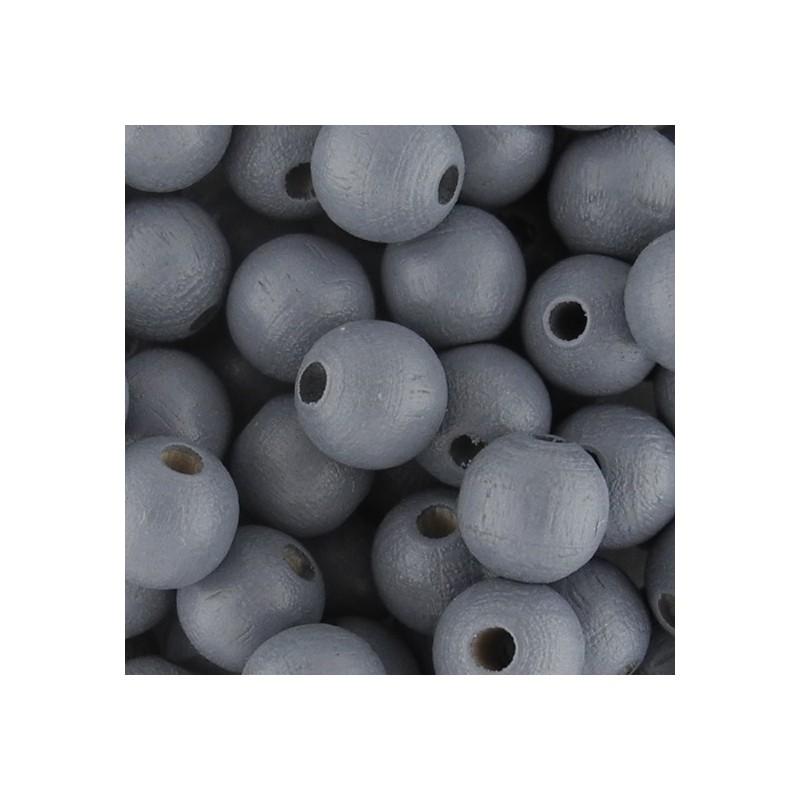 Preciosa pyöreä lakattu puuhelmi 8 mm, harmaa