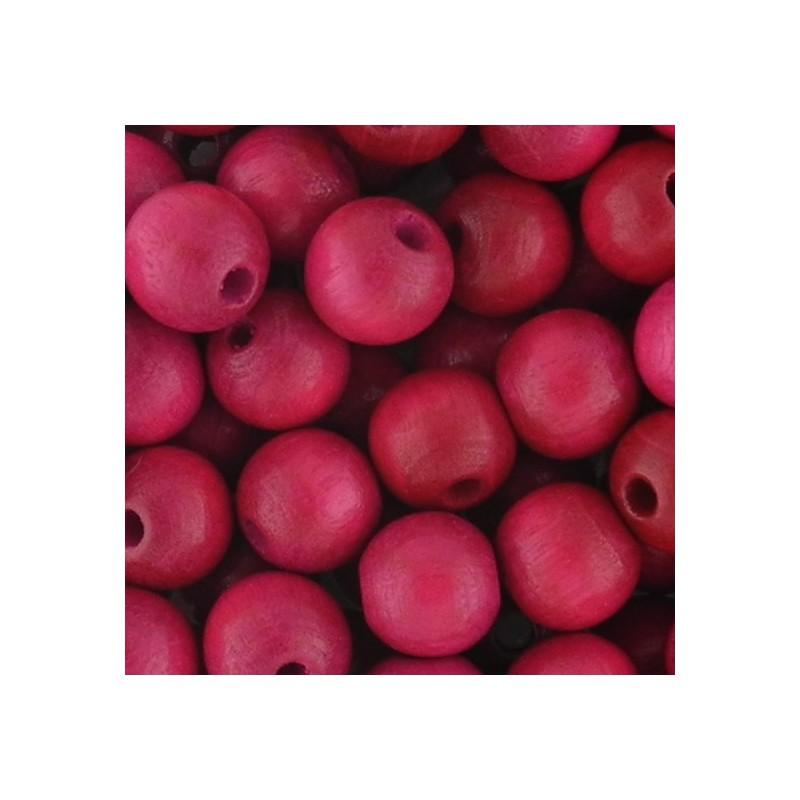 Preciosa pyöreä lakattu puuhelmi 8 mm, fuksia