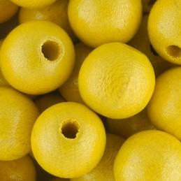 Preciosa pyöreä lakattu puuhelmi 10 mm, helmeilevä keltainen