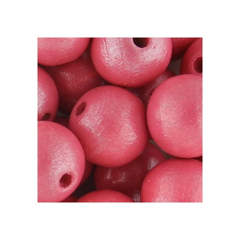Preciosa pyöreä lakattu puuhelmi 12 mm, helmeilevä pinkki