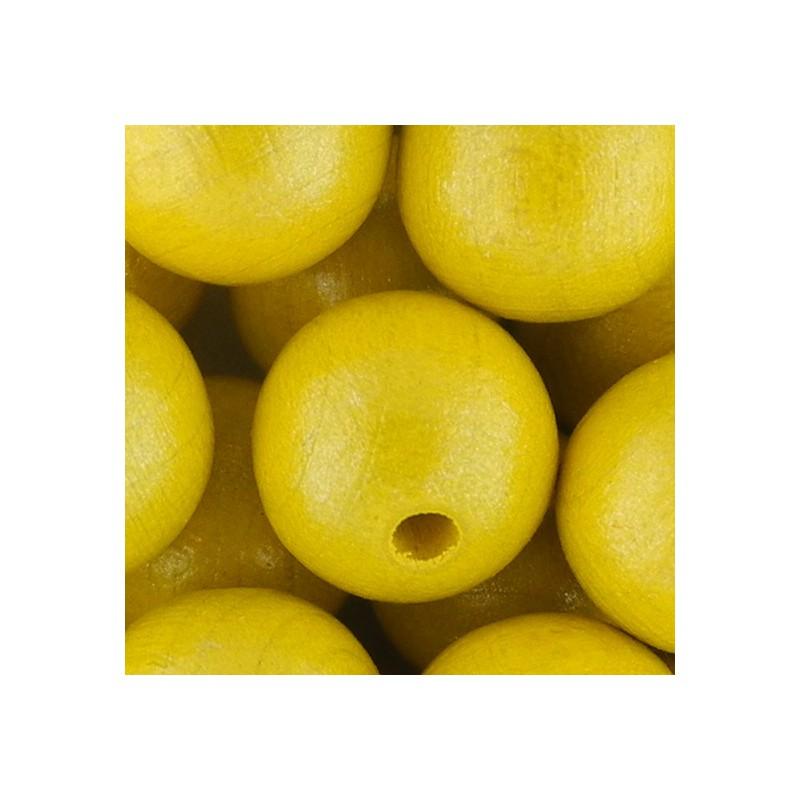 Preciosa pyöreä lakattu puuhelmi 12 mm, helmeilevä keltainen
