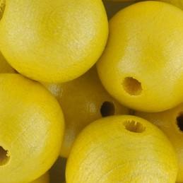 Preciosa pyöreä lakattu puuhelmi 14 mm, helmeilevä keltainen