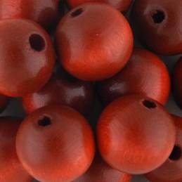 Preciosa pyöreä lakattu puuhelmi 14 mm, punainen