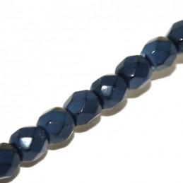 Tsekkiläinen pyöreä fasettihiottu Snake lasihelmi 4 mm, siniharmaa
