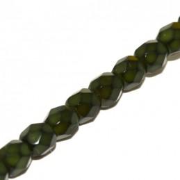 Tsekkiläinen pyöreä fasettihiottu Snake lasihelmi 4 mm, oliivi