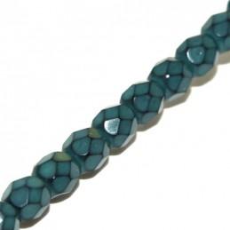 Tsekkiläinen pyöreä fasettihiottu Snake lasihelmi 4 mm, sinivihreä
