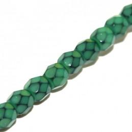 Tsekkiläinen pyöreä fasettihiottu Snake lasihelmi 4 mm, vihreä