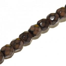 Tsekkiläinen pyöreä fasettihiottu Snake lasihelmi 4 mm, suklaanruskea