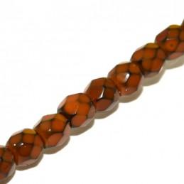Tsekkiläinen pyöreä fasettihiottu Snake lasihelmi 4 mm, sinapinruskea