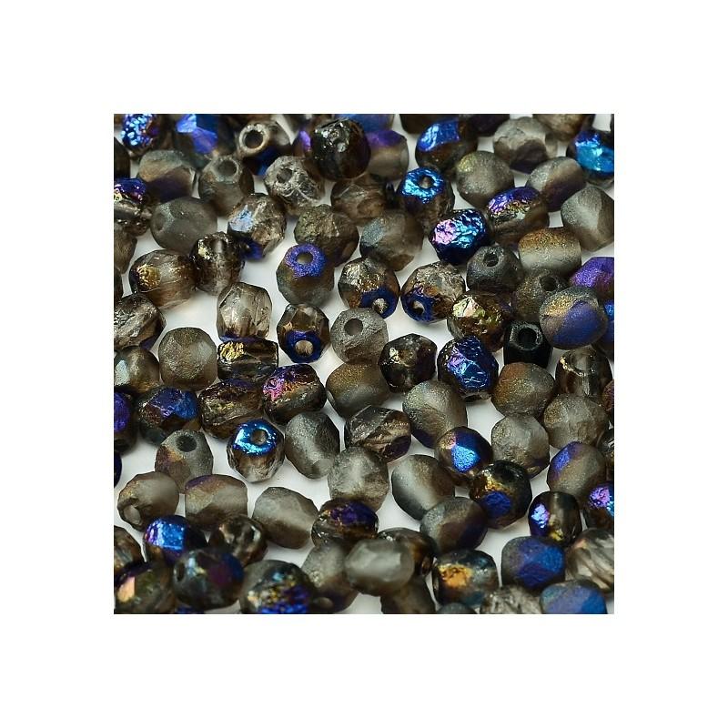 Tsekkiläinen fasettihiottu pyöreä lasihelmi 4 mm, etsattu kirkas azuro