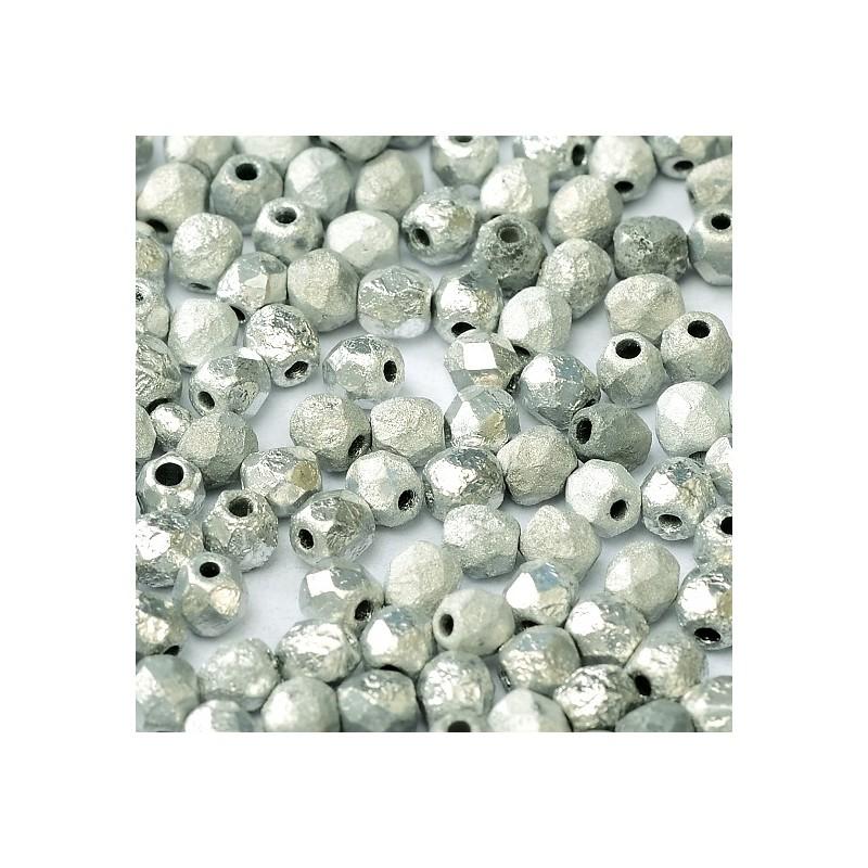 Tsekkiläinen fasettihiottu pyöreä lasihelmi 4 mm, etsattu hopea