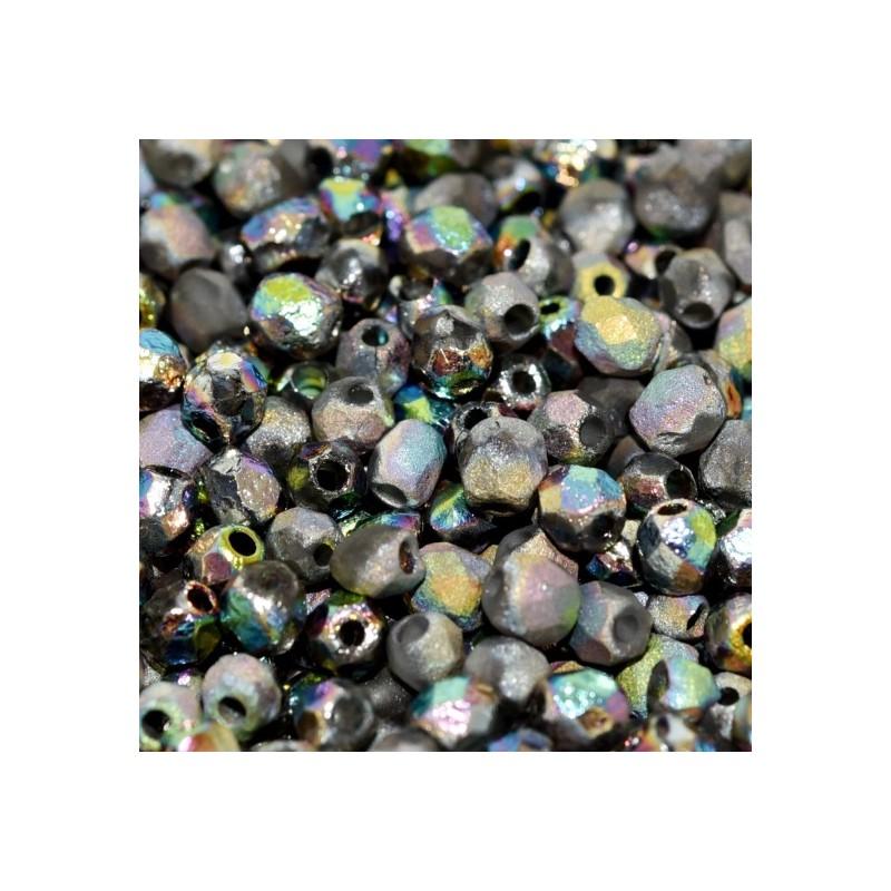 Tsekkiläinen fasettihiottu pyöreä lasihelmi 4 mm, etsattu kirkas vitrail