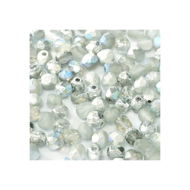 Tsekkiläinen fasettihiottu pyöreä lasihelmi 4 mm, etsattu kirkas/hopea AB