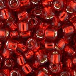 Toho pyöreä siemenhelmi 6/0, hopeasisus rubiininpunainen