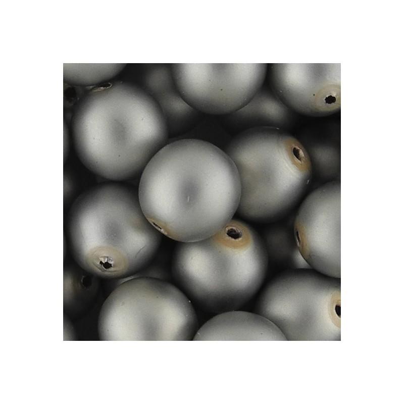 Preciosa pyöreä mattapintainen helmiäislasihelmi 10 mm, harmaa