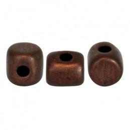 Minos® par Puca® lasihelmi 2,5 x 3 mm, opaakki matta tumma pronssi