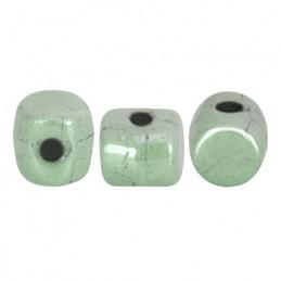 Minos® par Puca® lasihelmi 2,5 x 3 mm, opaakki keraaminen vaaleanvihreä
