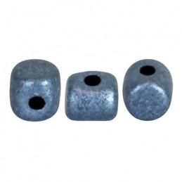 Minos® par Puca® lasihelmi 2,5 x 3 mm, metallinen matta sininen