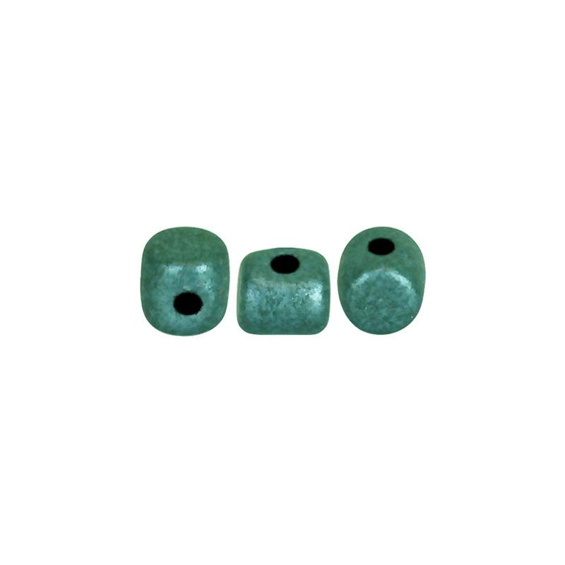 Minos® par Puca® lasihelmi 2,5 x 3 mm, metallinen matta vihreänturkoosi