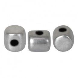 Minos® par Puca® lasihelmi 2,5 x 3 mm, matta alumiini hopea