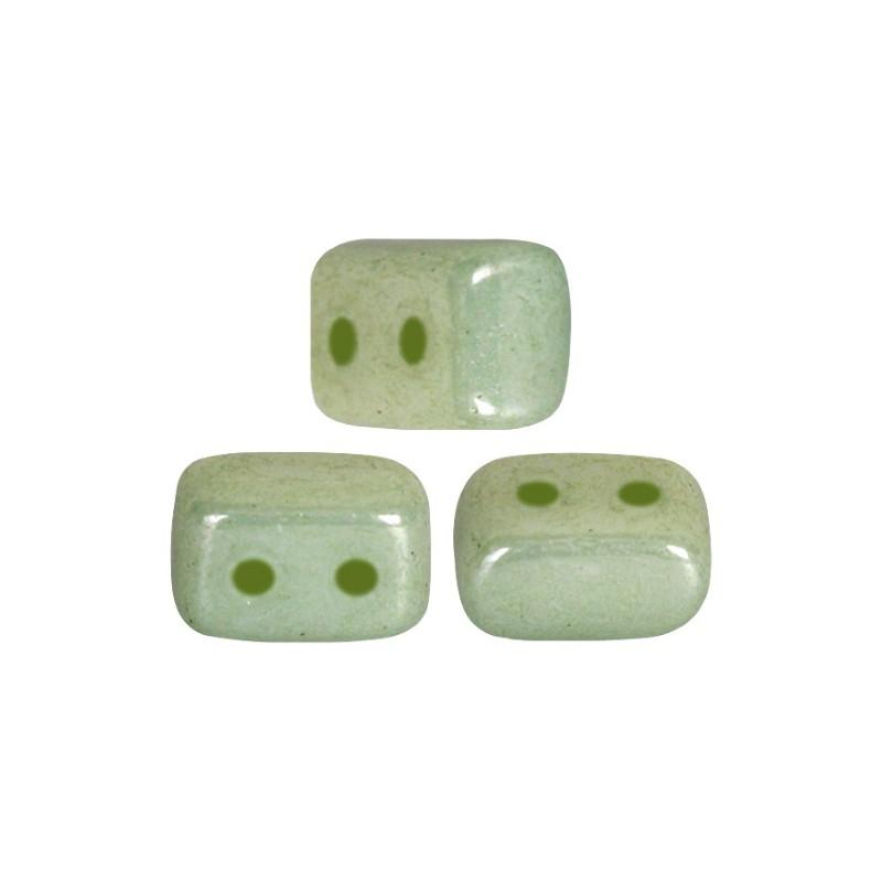 Ios® par Puca® lasihelmi 5,5 x 2,5 mm, opaakki keraaminen vaaleanvihreä