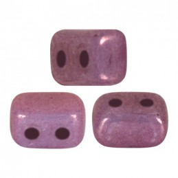 Ios® par Puca® lasihelmi 5,5 x 2,5 mm, opaakki keraaminen ametisti/kulta