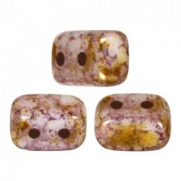 Ios® par Puca® lasihelmi 5,5 x 2,5 mm, opaakki keraaminen roosa/kulta