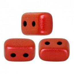 Ios® par Puca® lasihelmi 5,5 x 2,5 mm, metallinen matta punainen