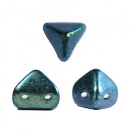 Super-KhéopS® par Puca® lasihelmi 6 x 6 mm, metallinen matta vihreänturkoosi