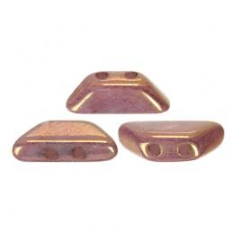 Tinos® par Puca® lasihelmi 4 x 10 mm, opaakki keraaminen violetti/kulta