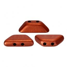Tinos® par Puca® lasihelmi 4 x 10 mm, matta pronssinen punainen