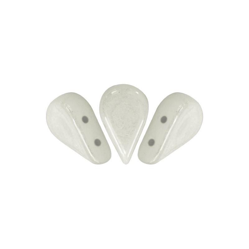 Amos® par Puca® lasihelmi 5 x 8 mm, opaakki keraaminen valkoinen