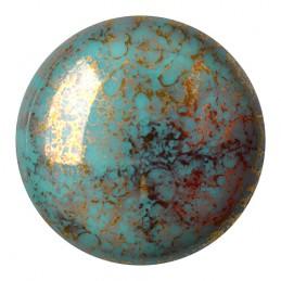 Cabochons par Puca® lasikapussi 25 mm, opaakki marmoroitu pronssinen siniturkoosi