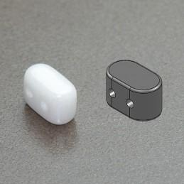 Ios® par Puca® lasihelmi 5,5 x 2,5 mm, opaakki keraaminen valkoinen